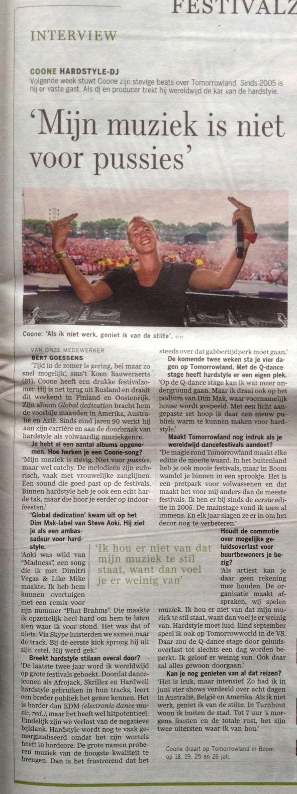Coone De Standaard 12 juli 2014 2